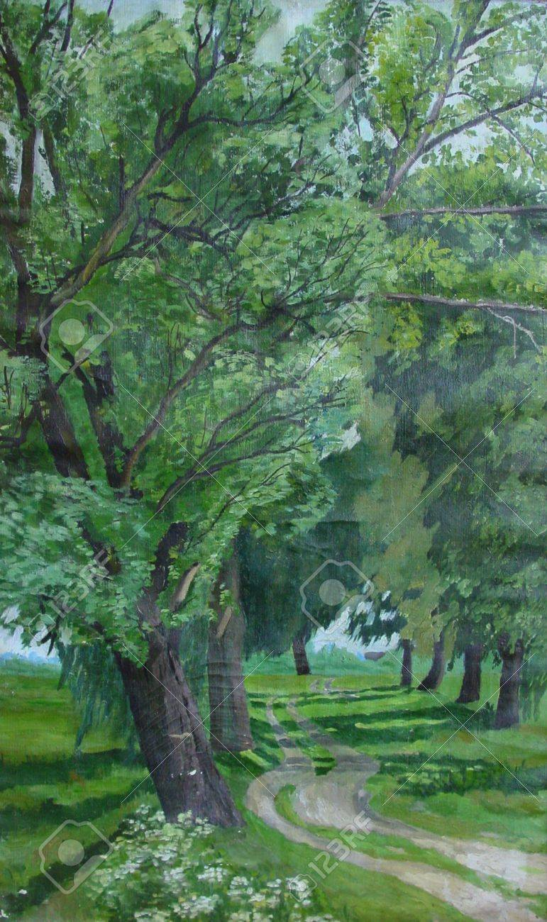 Original artwork of painting Parkway Poplars with the road and poplars tree on both sides Stock Photo - 15442722