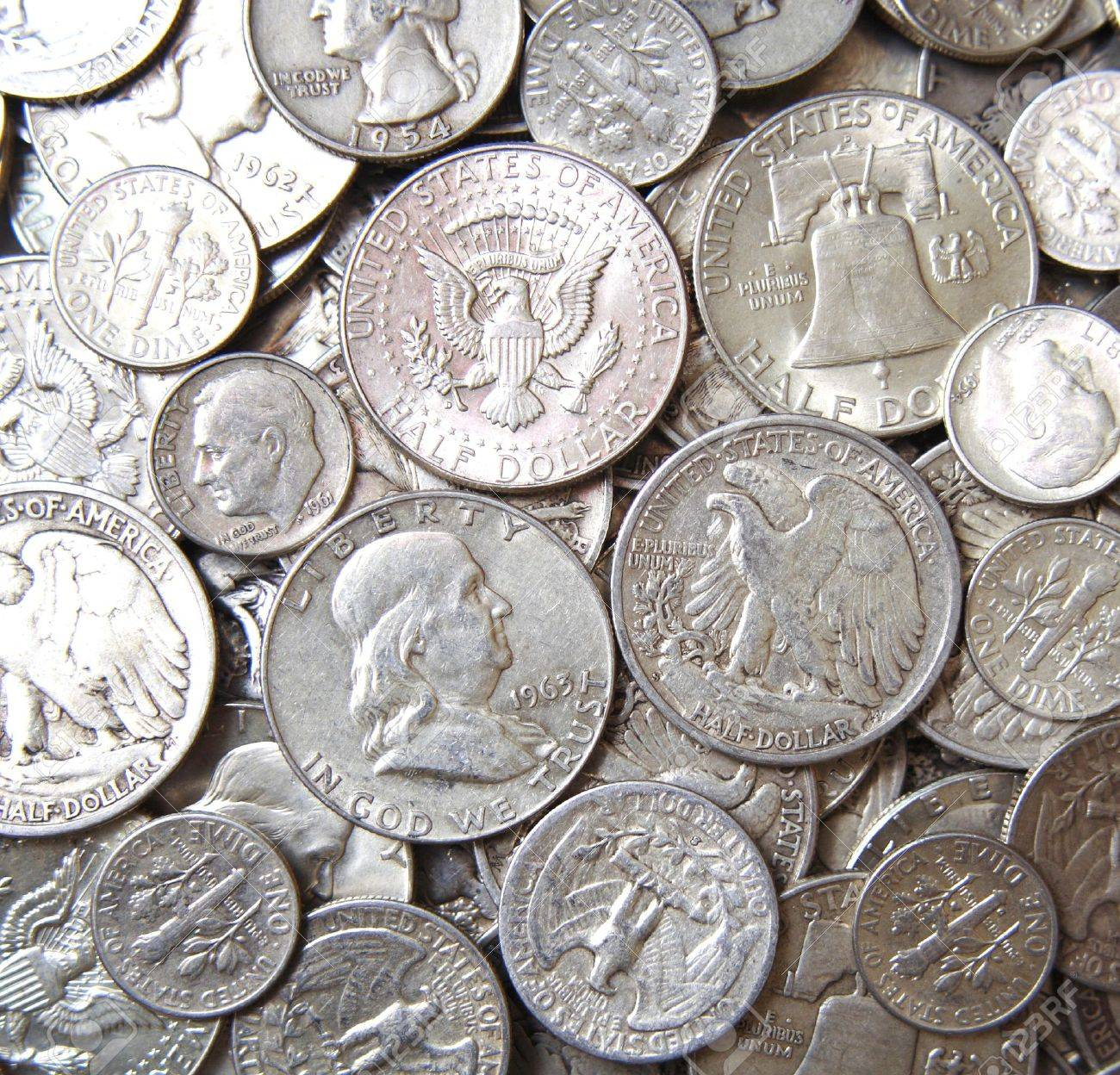 Stacks of USA Silver coins background Stock Photo - 17545463
