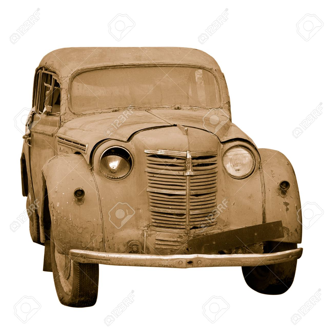 Rusty old car in sepia isolated Stock Photo - 4445954