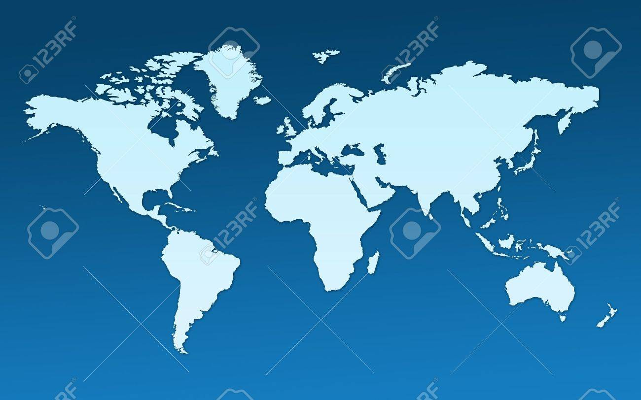 Map Of The Whole World Images Of All Continents And Oceans On A Flat Stock