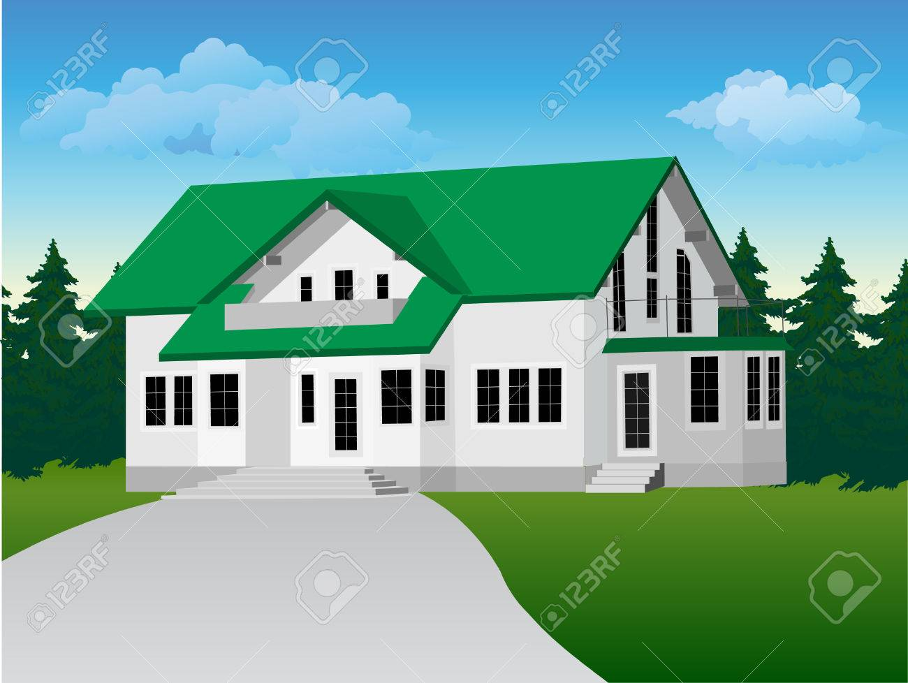 illustration: private country house. Background of forest and sky Stock Vector - 6640207