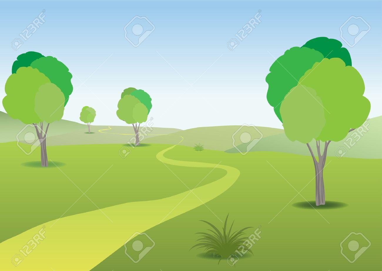 Paisaje De Llanura Verde, Cálido Día De Verano Soleado Y Un Trazado Sinuoso  Al Horizonte De Retroceso. Ilustraciones Vectoriales, Clip Art Vectorizado  Libre De Derechos. Image 6688348.