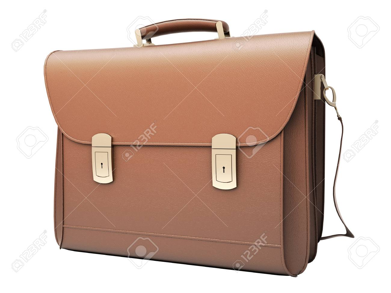 Brown business briefcase isolated Stock Photo - 17332696