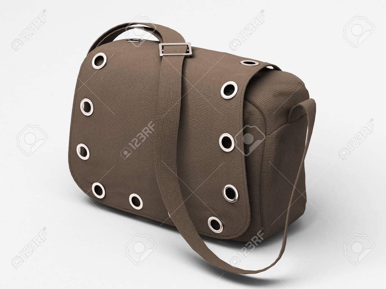 Women's grey handbag with studs on light background Stock Photo - 17476171