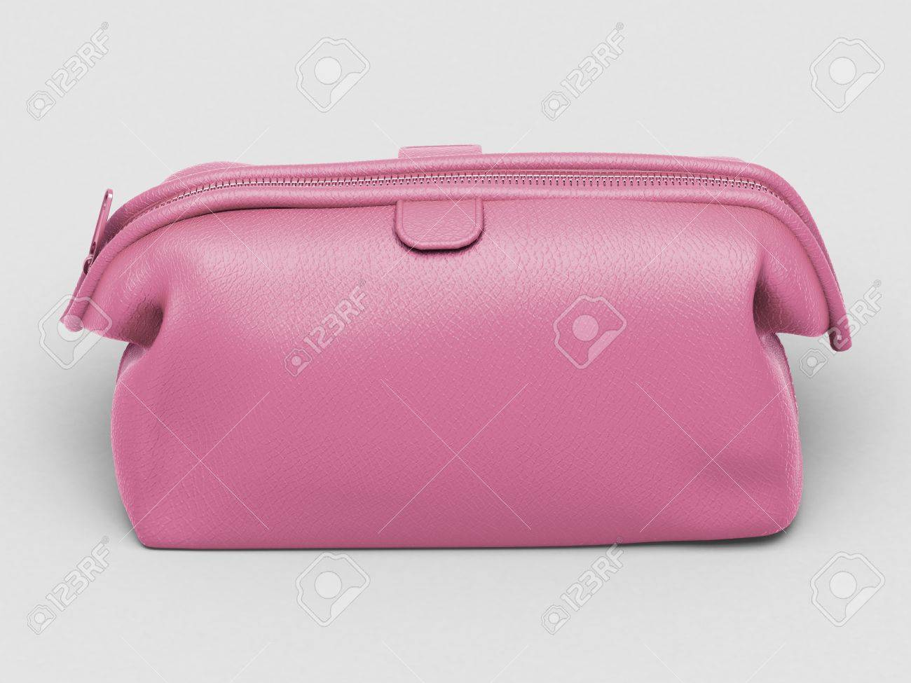 Pink leather clutch closeup on a light background Stock Photo - 17476140