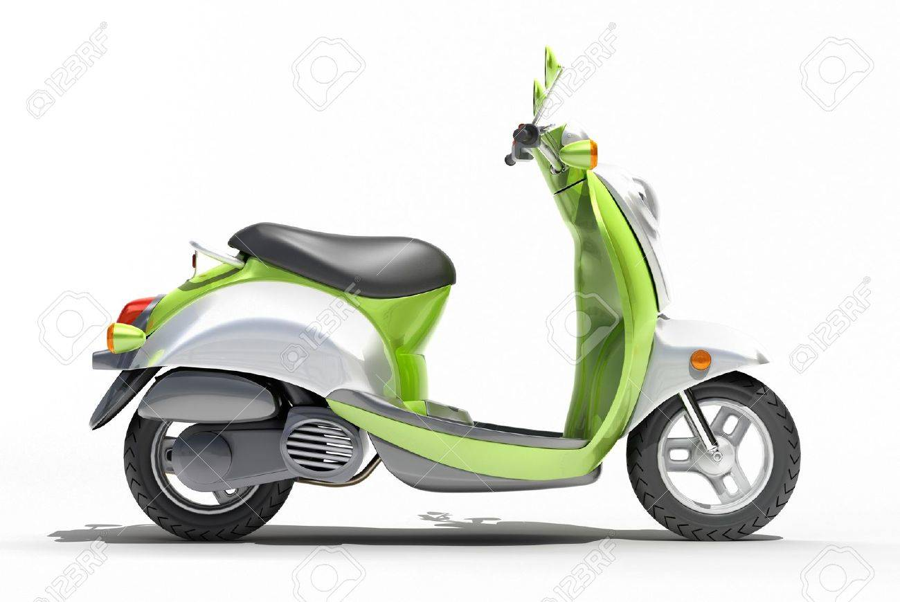 Green scooter close up on a light background - 20561157