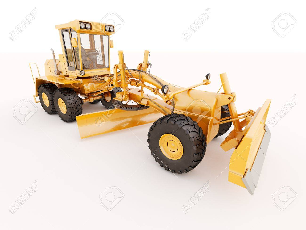 Modern three-axle road grader on a light background Stock Photo - 21015309