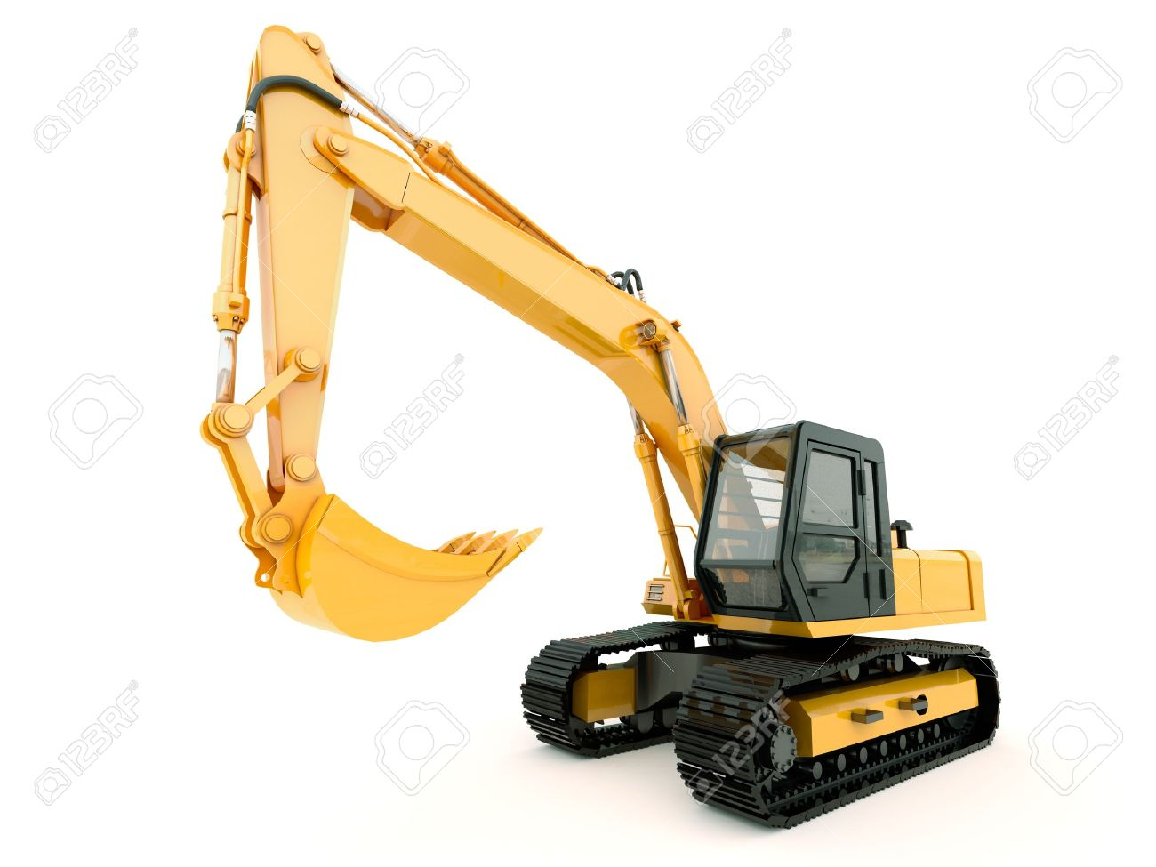 Construction heavy machine: excavator isolated on white background with light shadow - 21230609