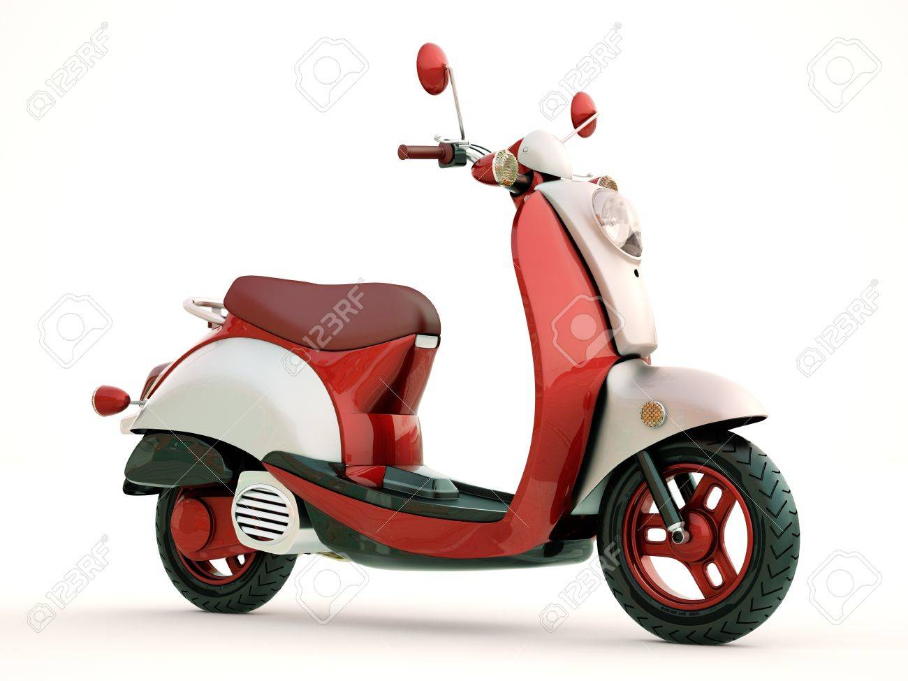 Modern classic scooter on a light background - 21296421