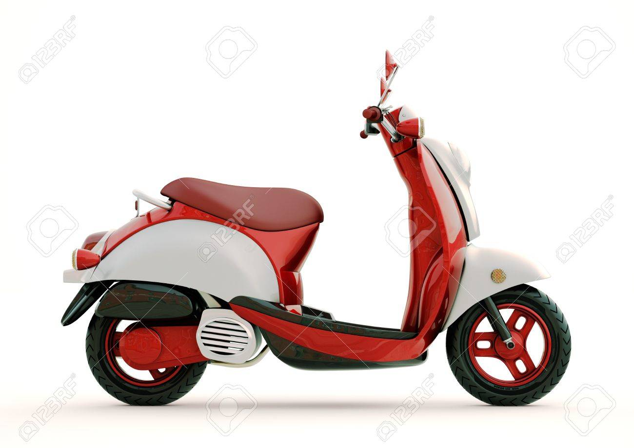 Modern classic scooter on a light background - 21296452