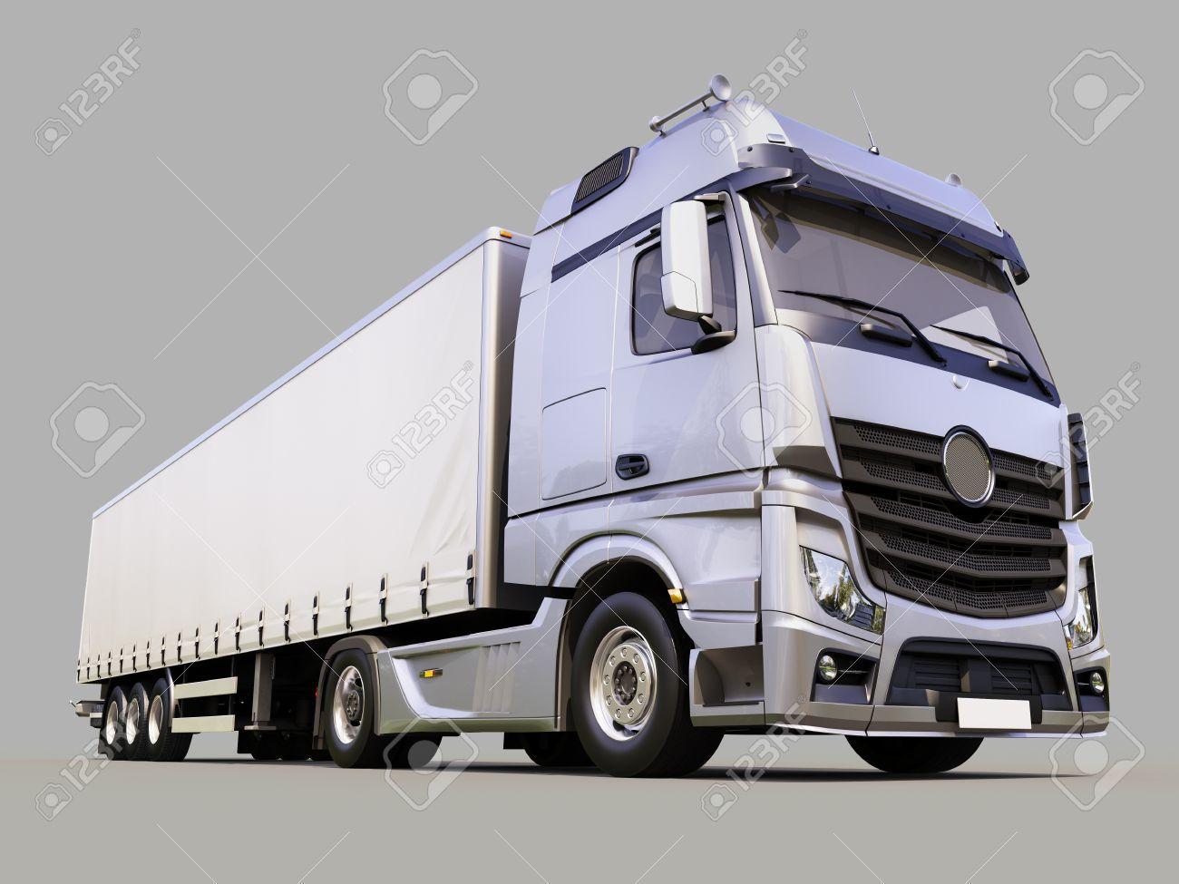 A modern semi-trailer truck on gray background - 21644505