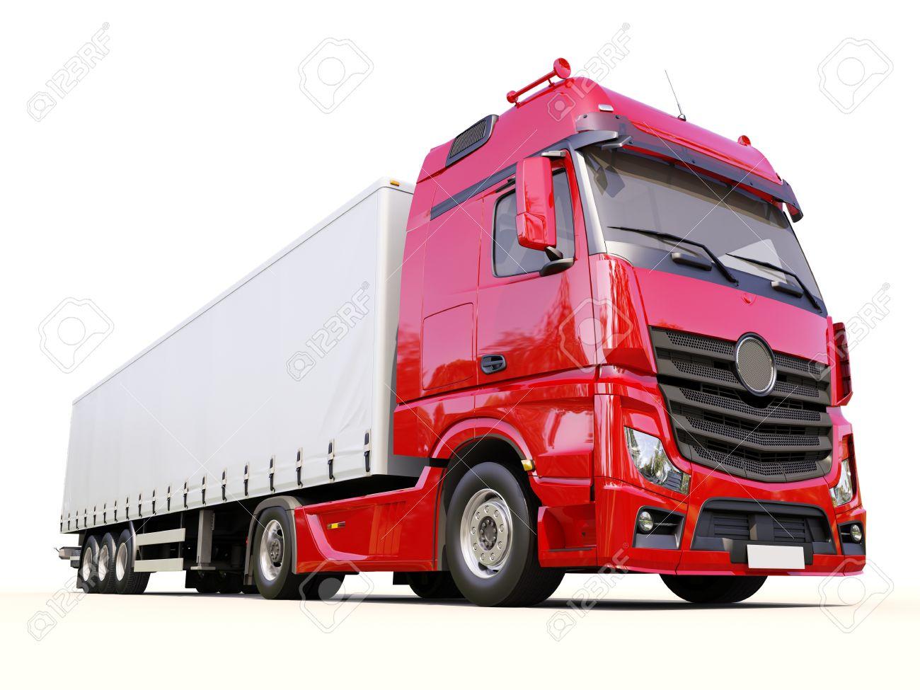 A modern semi-trailer truck on light background - 21756638