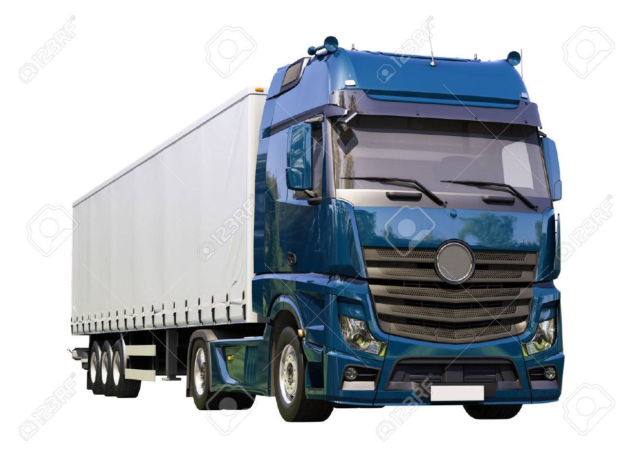 A modern semi-trailer truck isolated on white background - 22488334