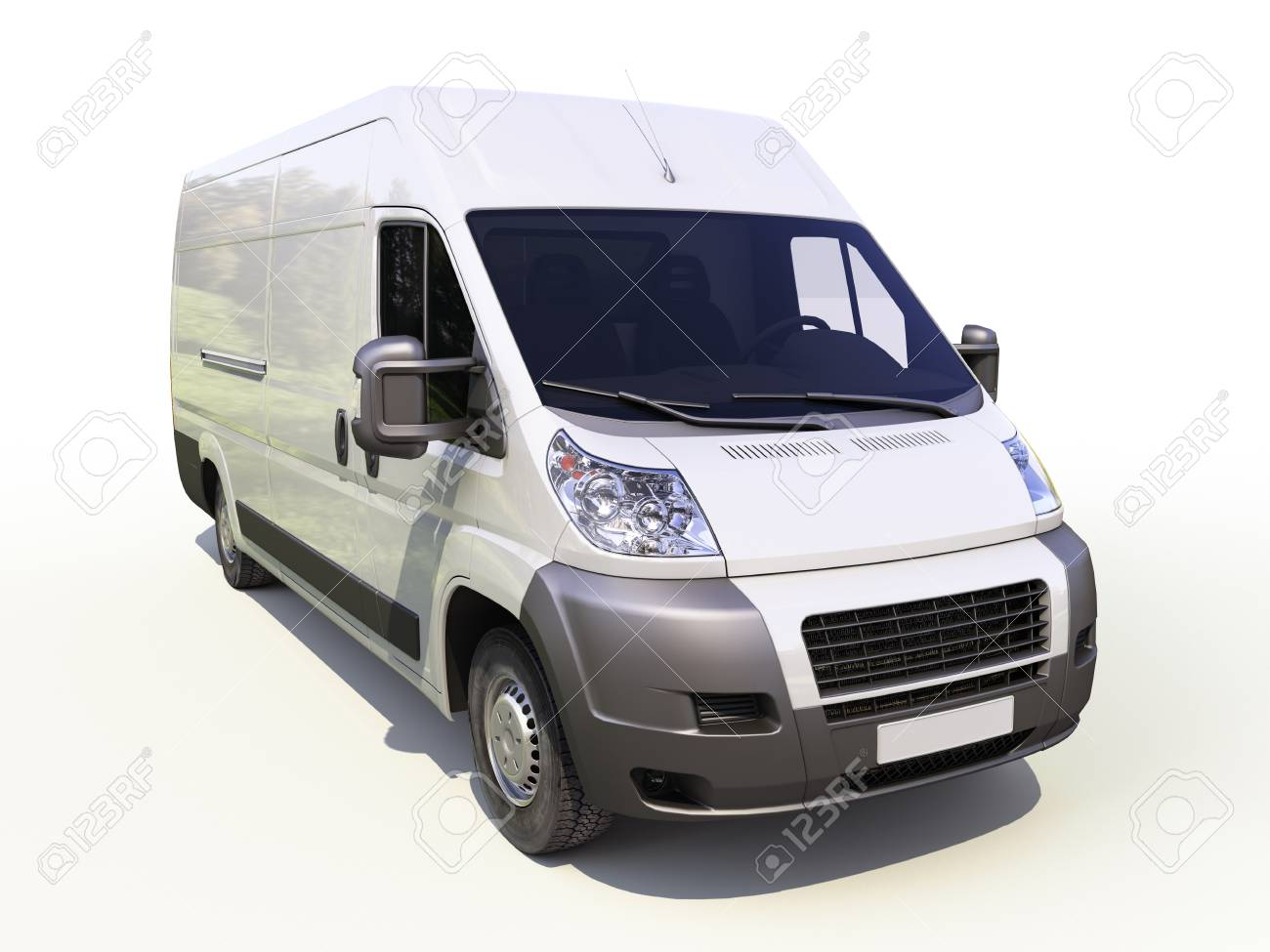 White commercial delivery van on a ligth background with shadow Stock Photo - 22490242