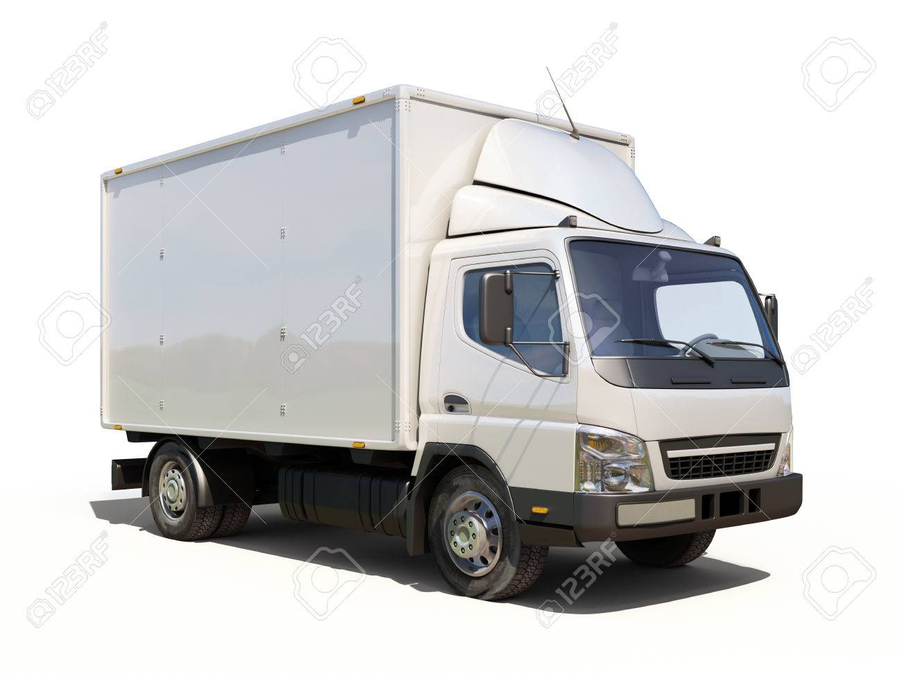 White commercial delivery truck on a ligth background with shadow - 22490622