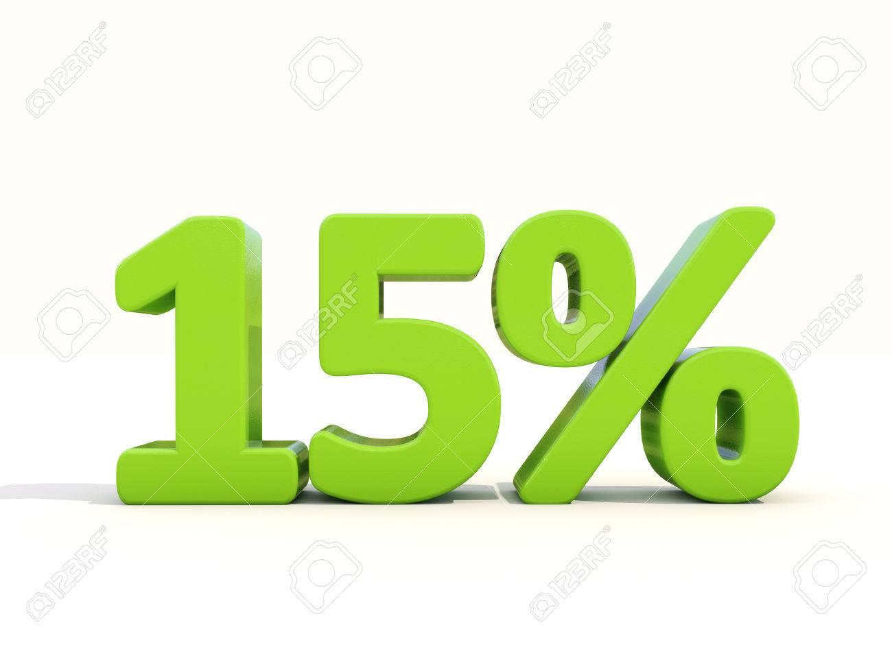 Fifteen percent off. Discount 15%. 3D illustration. - 26102480