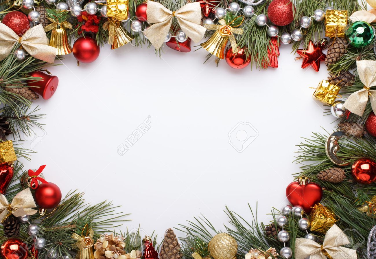 christmas frame with christmas ornaments and decorations stock photo
