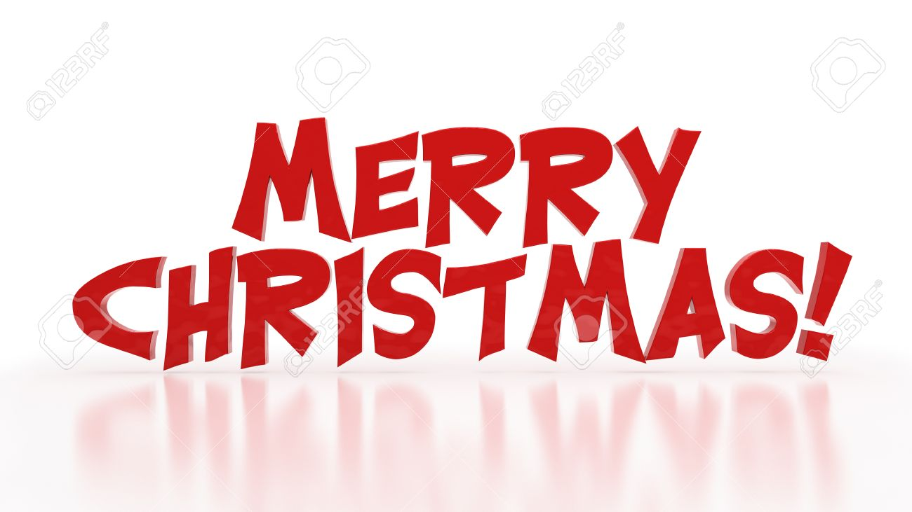 3d Words Merry Christmas On White Background Stock Photo, Picture ...