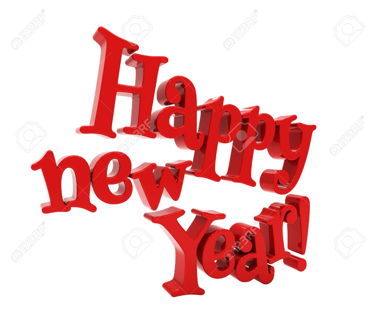 happy new year 3d text on white background stock photo 34575622