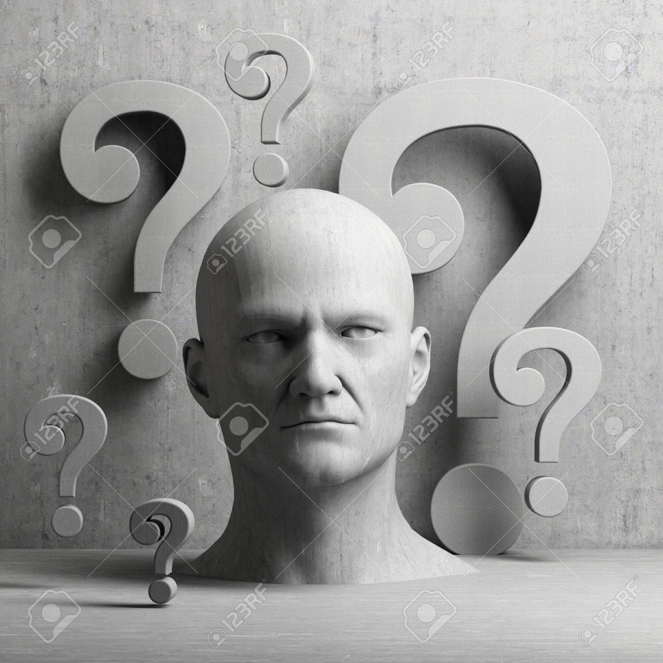 Thinking man statue with question mark on gray background to illustrate learning, education, testing, quizzing, creativity and imagination - 54691040