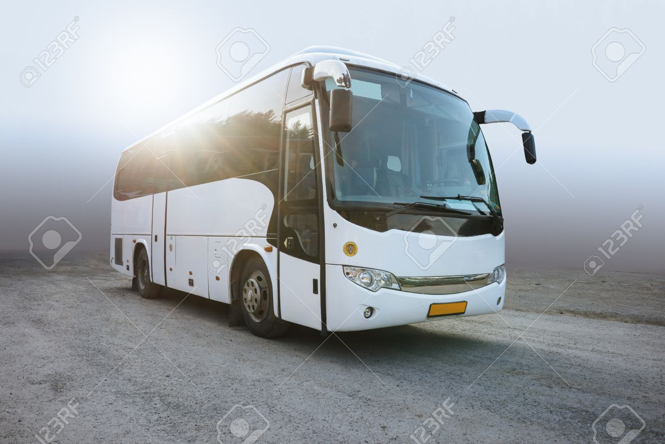 Modern White Passenger Bus on the Neutral Background, City Tourist Bus Transportation Vehicle, Public Road Urban Travel Passenger Commercial City Bus. Modern and Comfortable Coach, Traveling by Bus - 65621782