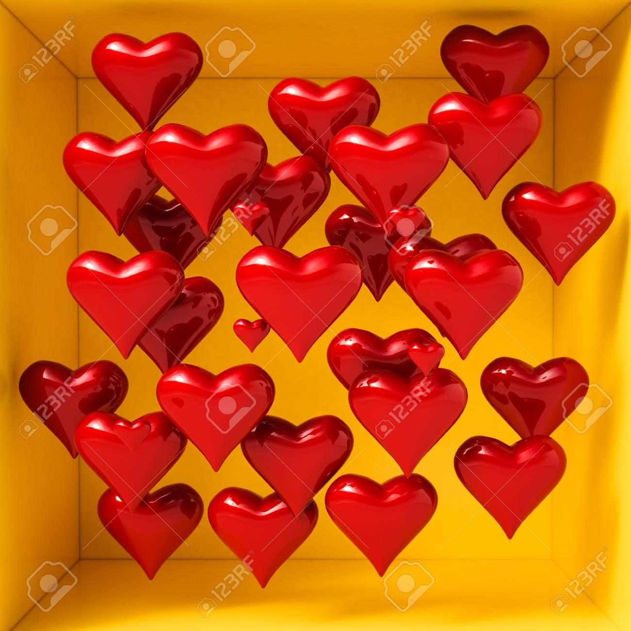 Formas De Corazones 3d Para Fondo De Día De San Valentín Y Elementos