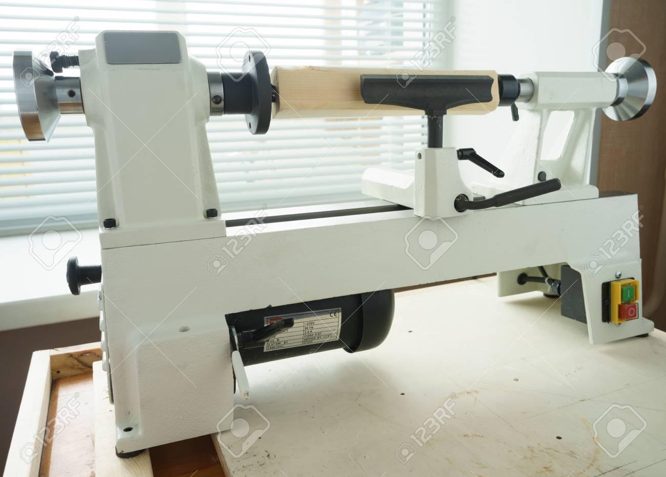 woodworking machine, mini woodworking lathe close up detail,..