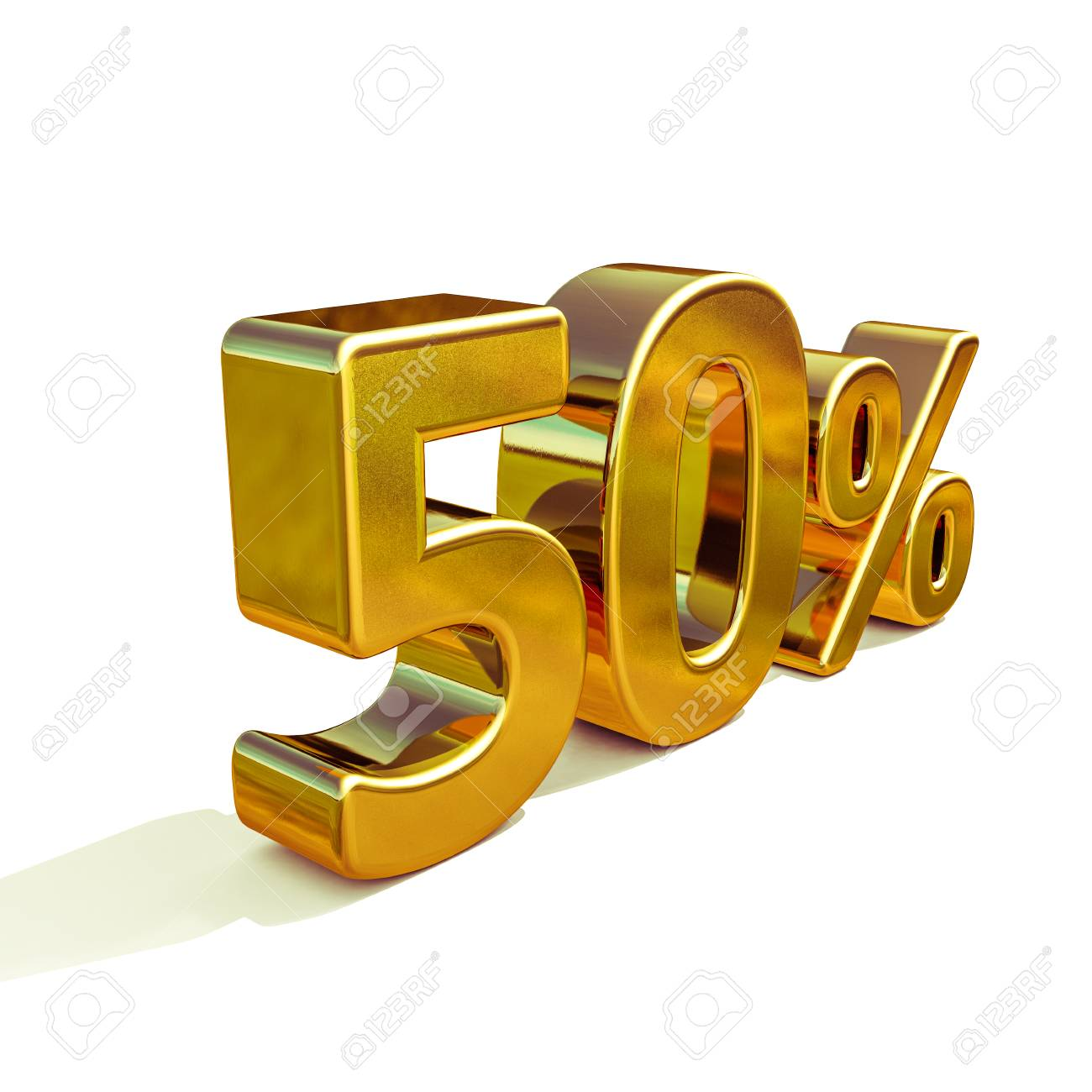 3d render gold 50 percent off discount sign sale banner template
