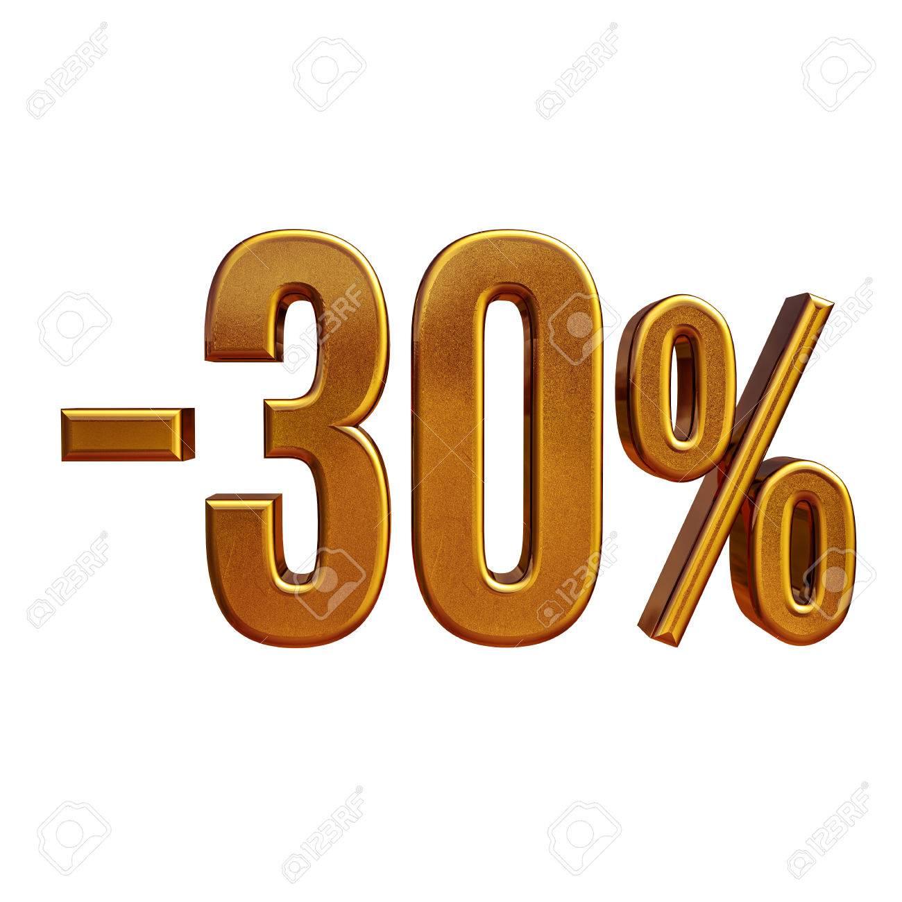 3d Render: Gold 30 Percent Off Discount Sign, Sale Banner Template ...