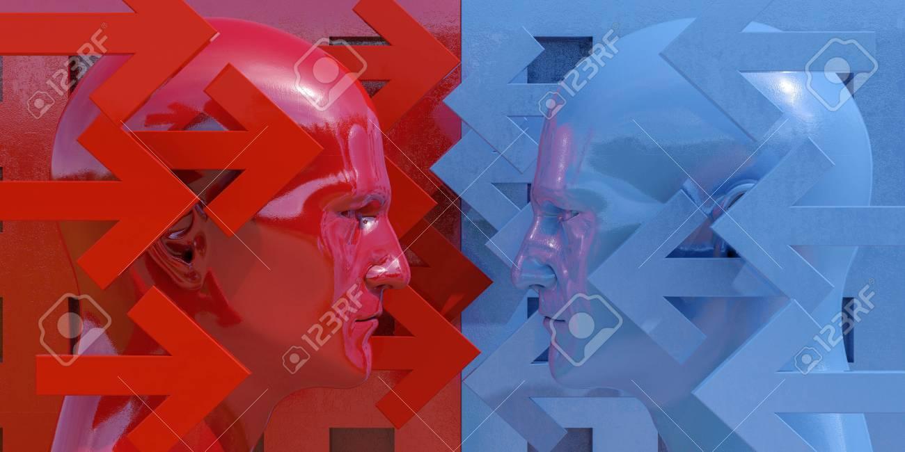 対立の図: 二人論争し、脅迫、議論相手の戦い、2 つのビジネスマン紛争 ...