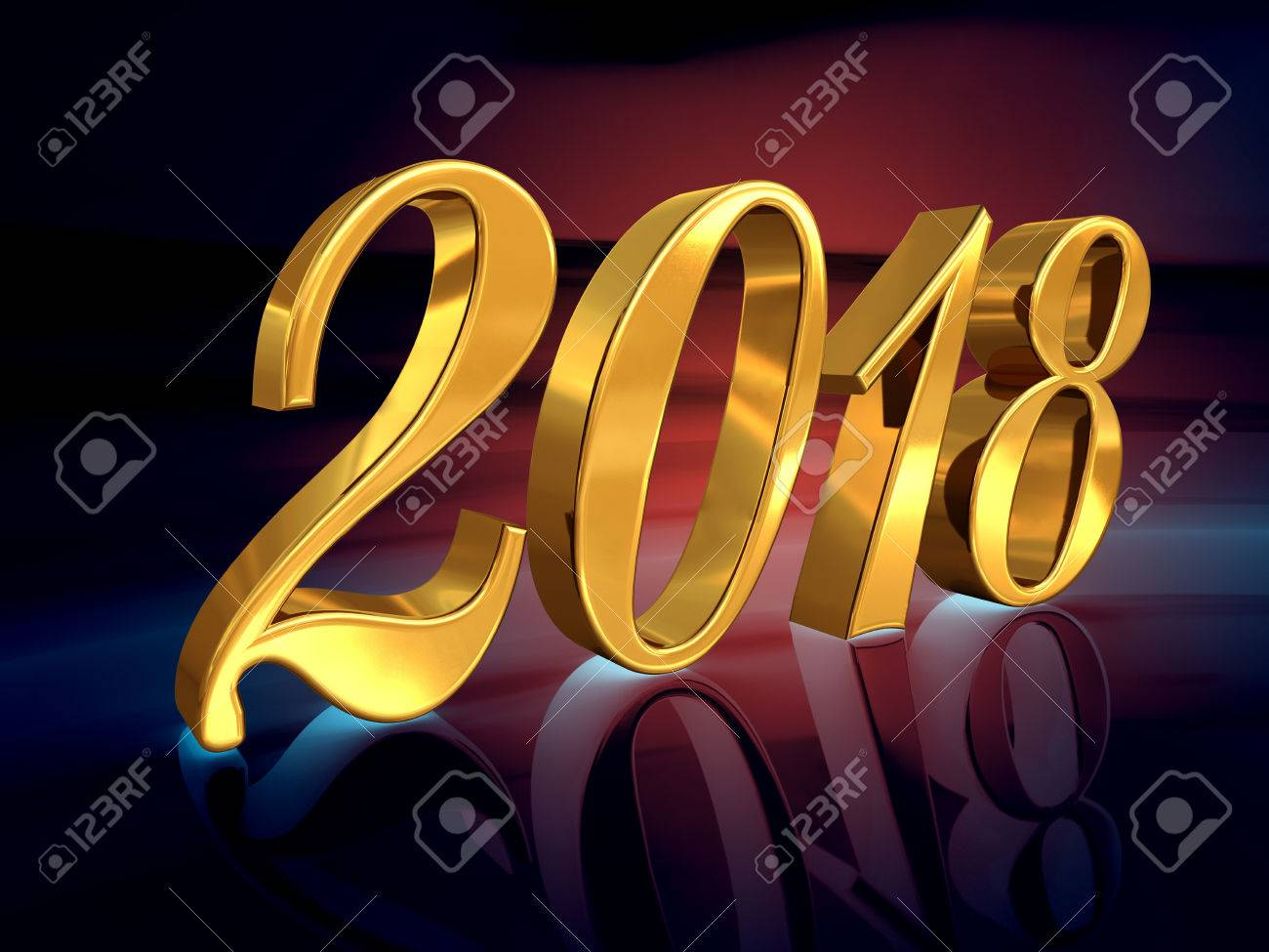 Gold 2018 Celebration Number, Golden 3D Numbers on a Festive Background, 2018 Happy New Year or Christmas Background Creative Greeting Card Design, for Flyers, Invitation, Posters, Brochure, Banners - 80371742