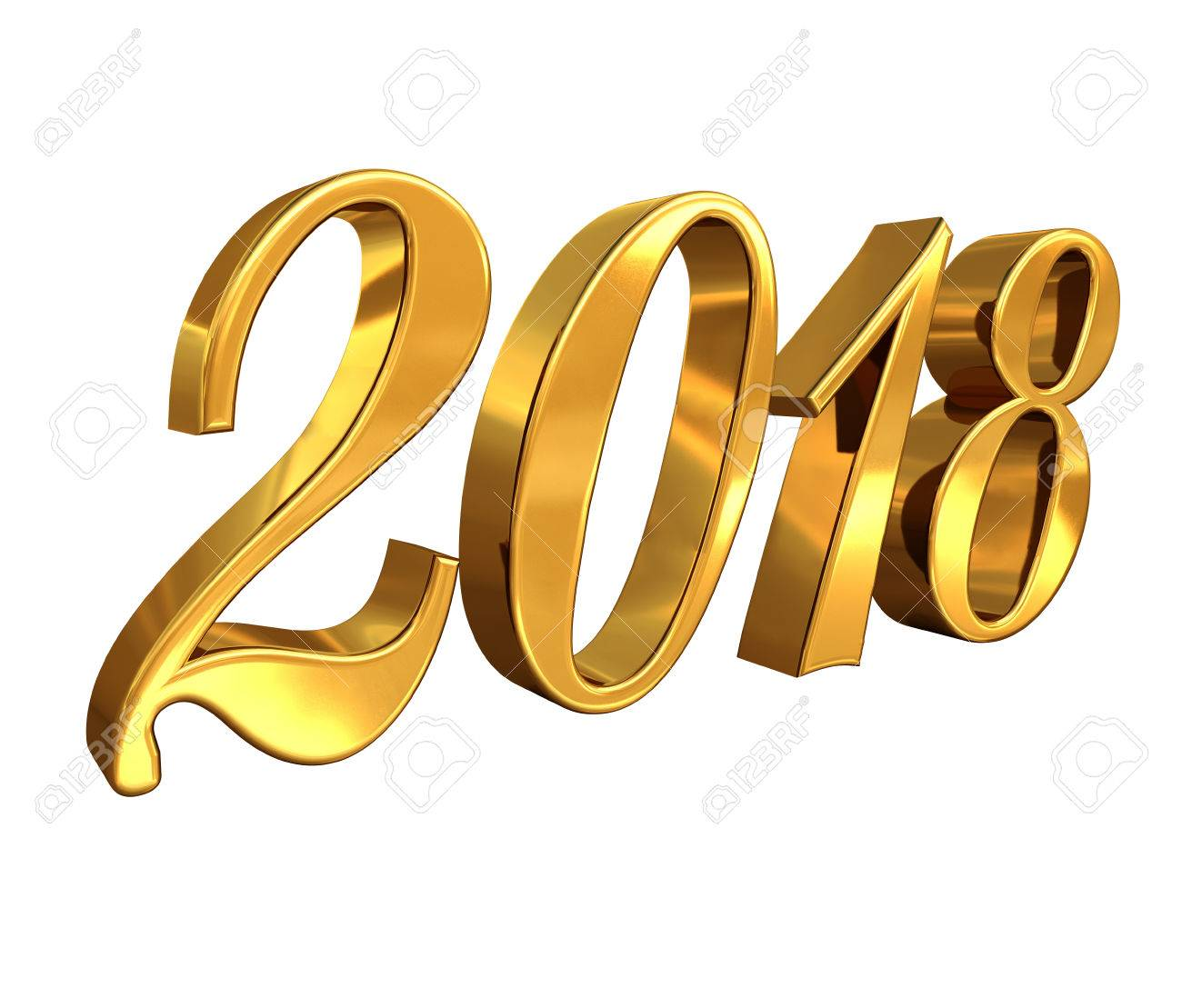 Gold 2018 Celebration Number, Golden 3D Numbers on a White Background, 2018 Happy New Year or Christmas Background Creative Greeting Card Design, for Flyers, Invitation, Posters, Brochure, Banners - 80371754