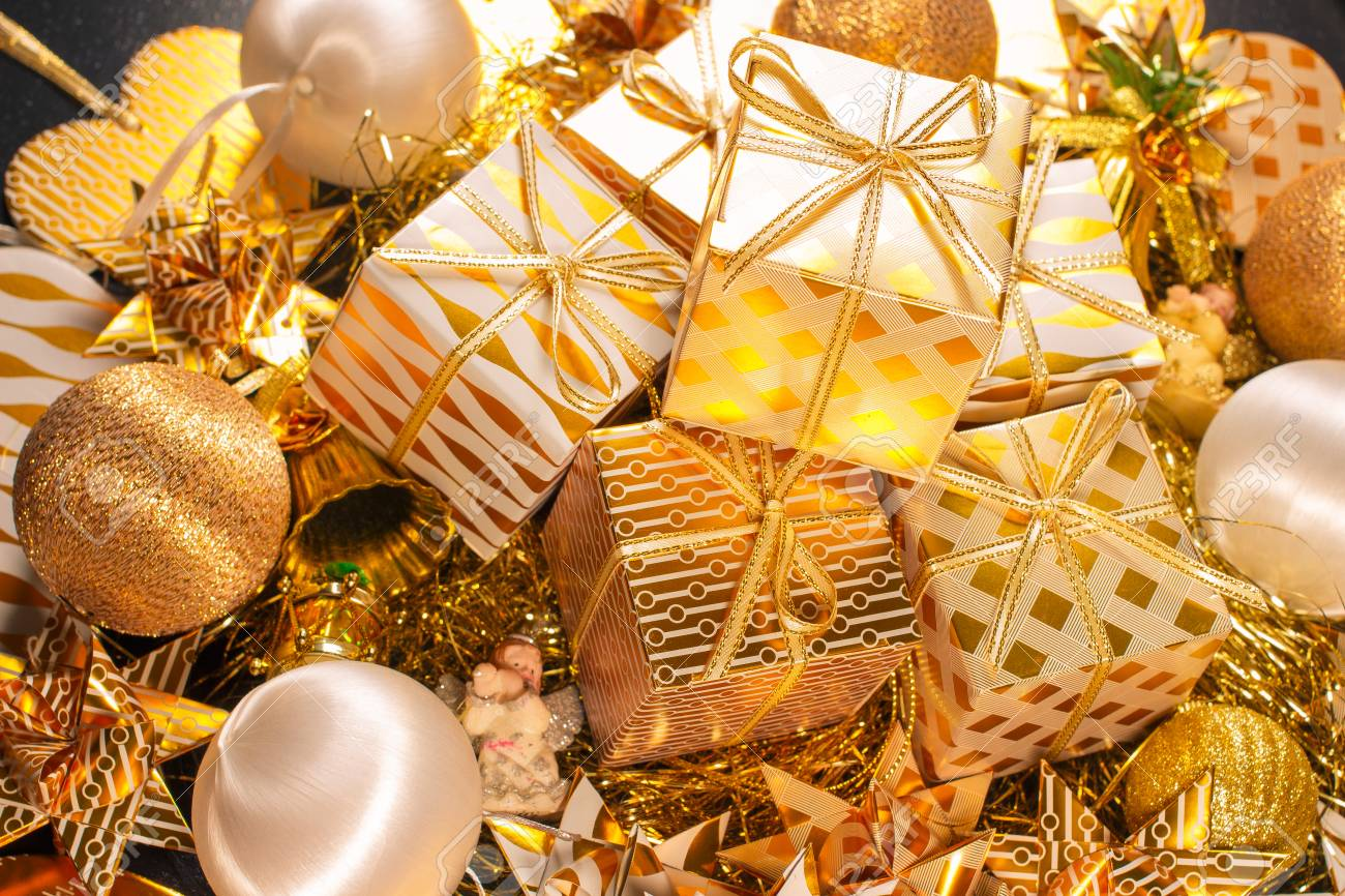 Luxury Gold Themed Holiday Greeting Card With Gift Boxes On Festive ...