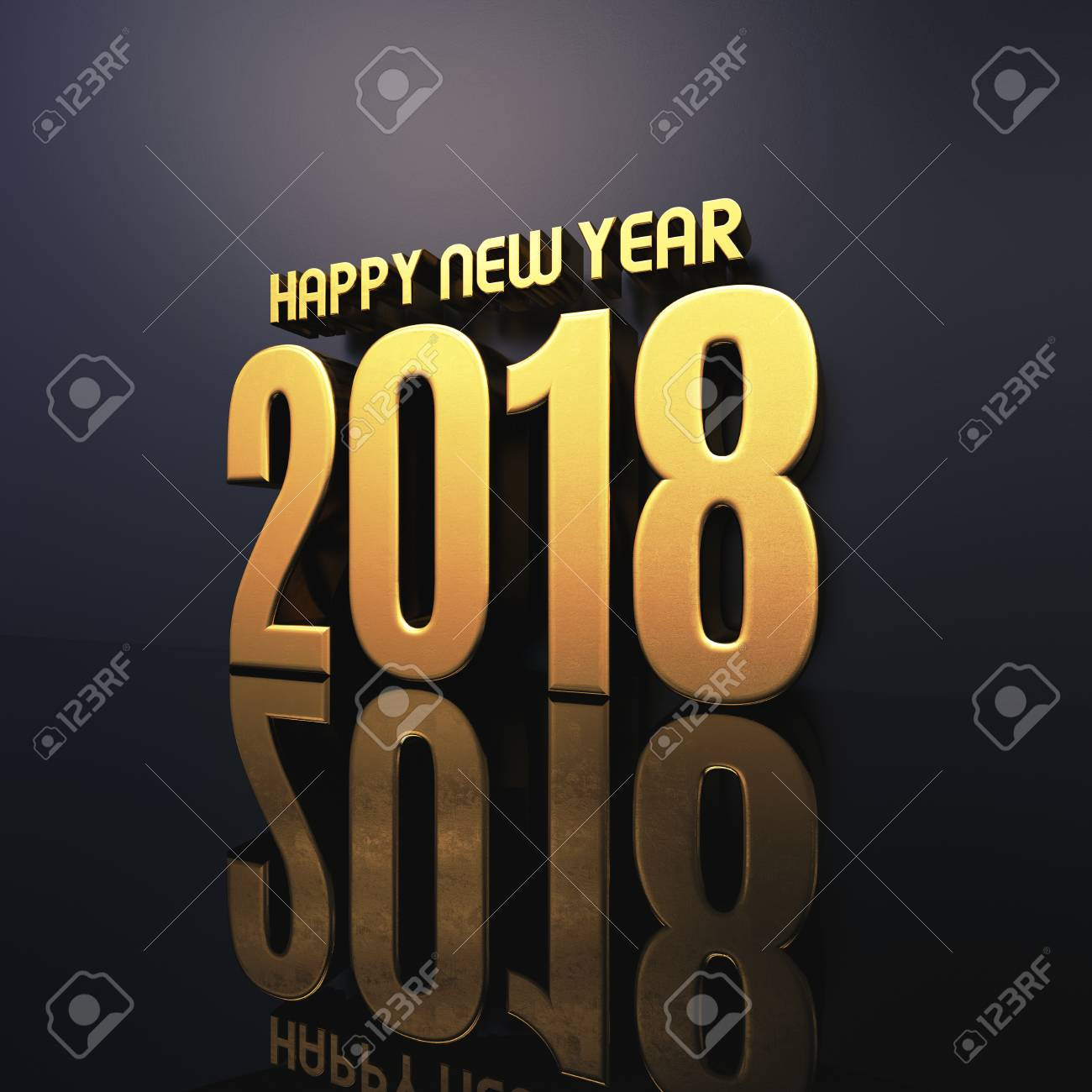 Gold Happy New Year 2018 Text Design 3d Illustration Golden Stock