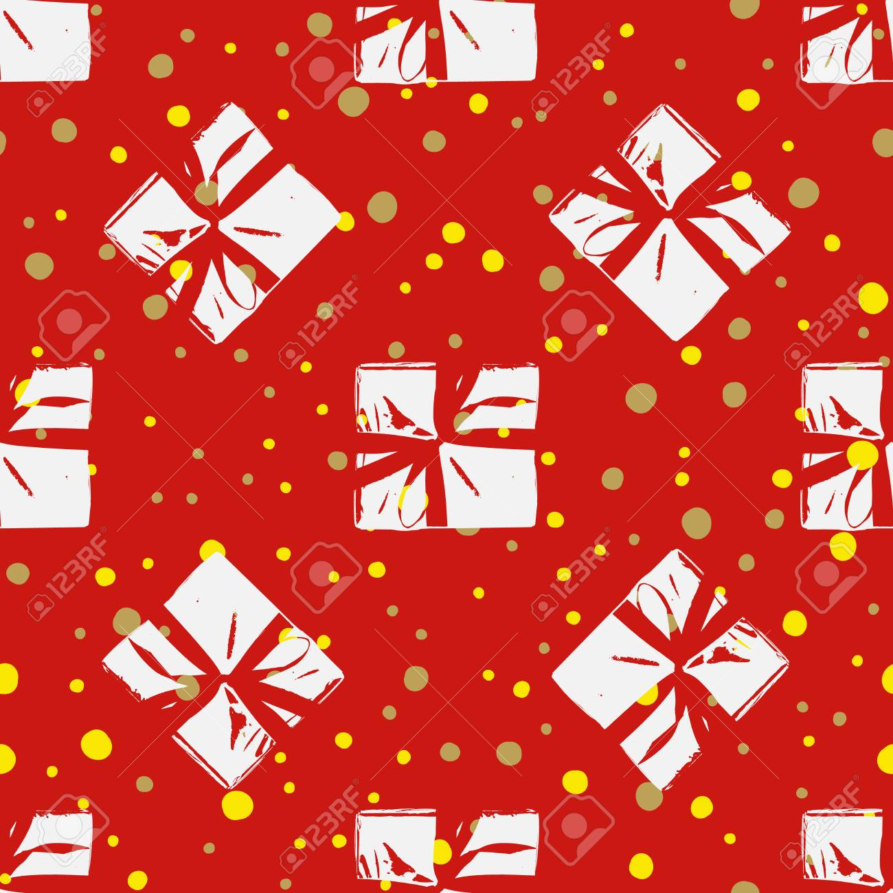 Christmas Gift Wrapper Design.Winter Seamless Pattern With Christmas Gift Boxes Wrapped Boxes