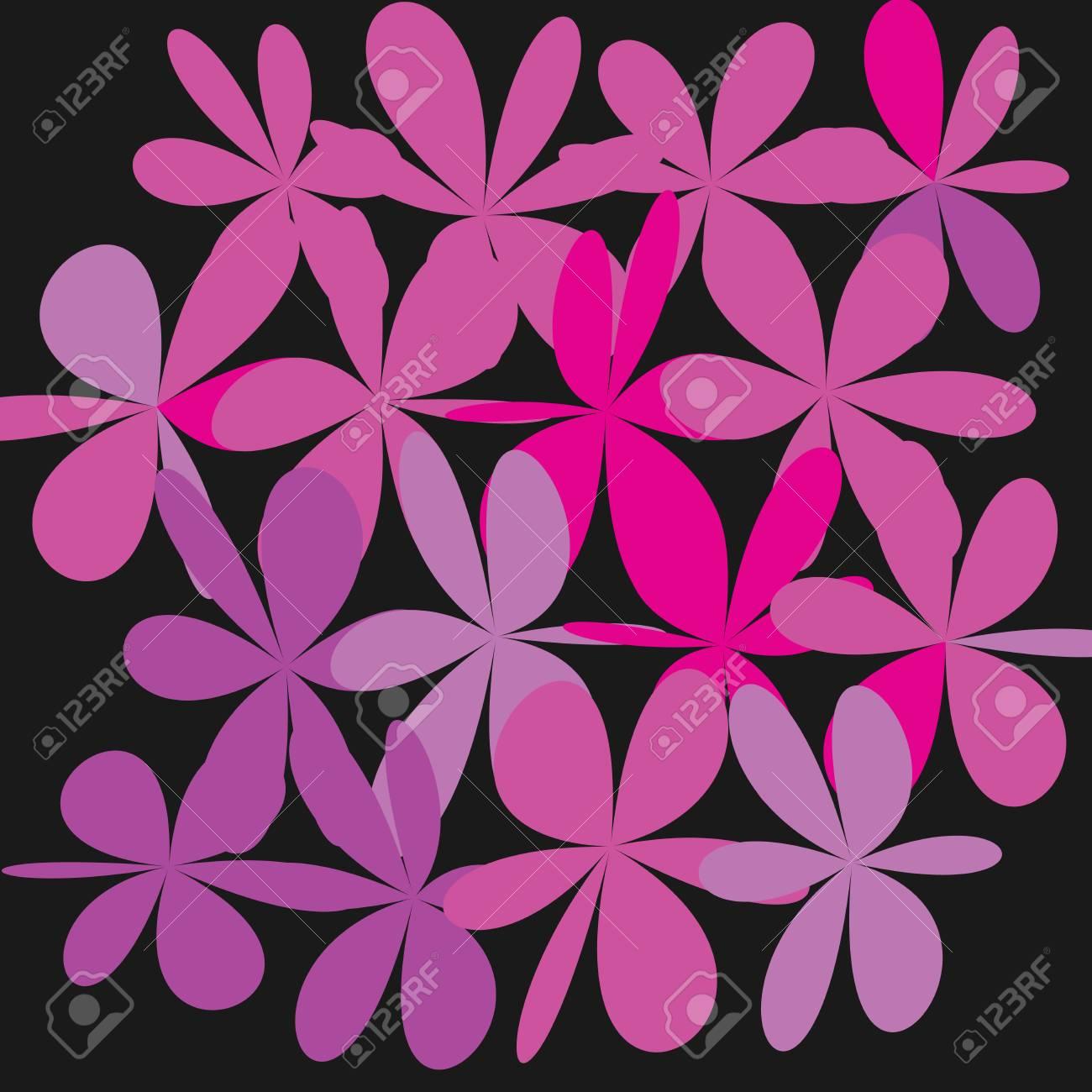 Whimsical Floral Background Pink Flower On Black Background
