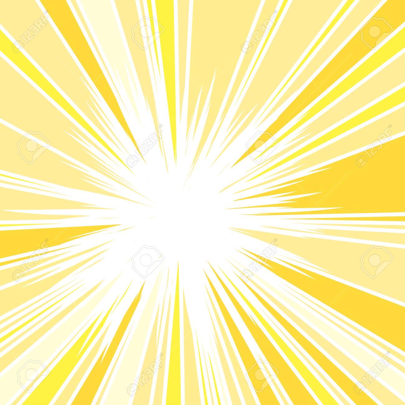 Hot and Glittering Summer Sun, Abstract Background of Sun Rays, Sunburst Background, Centered Yellow Orange Summer Sun Light Burst - 92923784
