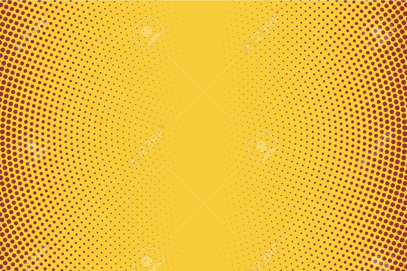 Vertical Gradient Halftone Background, Pop Art Template, Circles Overlay Wave Texture Vector Pattern, Chaotic Polka Dots Grunge Distress Effect, Spotted Pointillism Style Illustration - 137756746