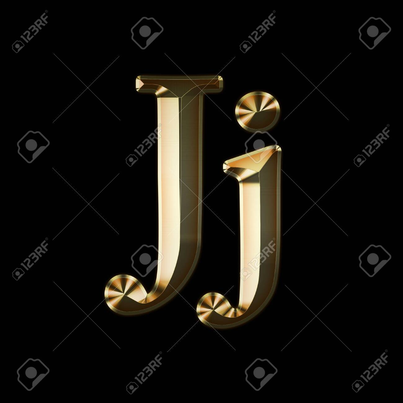 Luxury Jj 2-level Gold Gradient Isolated on Black, Gold Glittering Metal Latin Alphabet, Elegant Realistic 3D Dd Golden Glitter Letters, ABC Font - 142769852