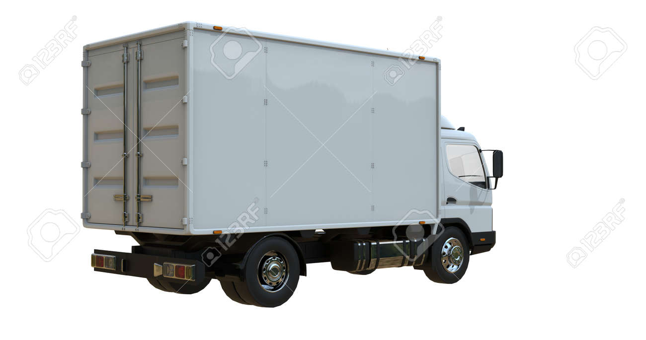 Delivery van postal truck isolated on white - 156880930