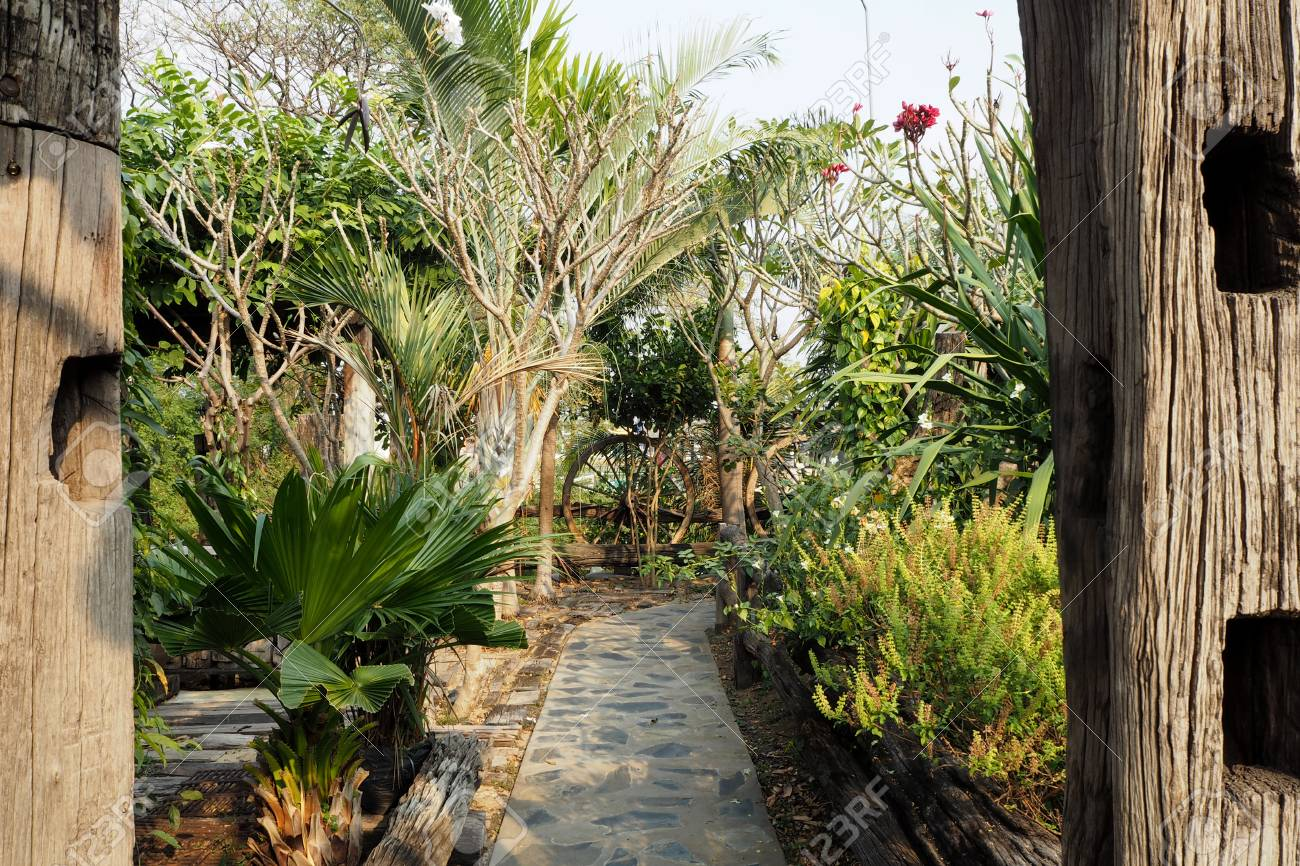 Garden Design With Wood In Thai Style Stock Photo Picture And