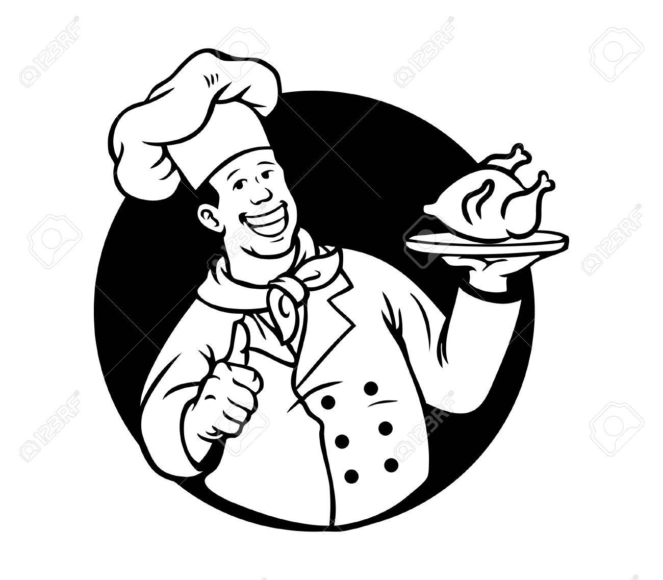 Chef Cooking Fried Chicken Black White Royalty Free Cliparts Vectors And Stock Illustration Image 64426888