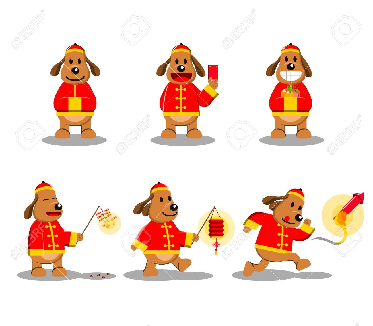 dog cartoon character for chinese new year theme stock vector 89825884