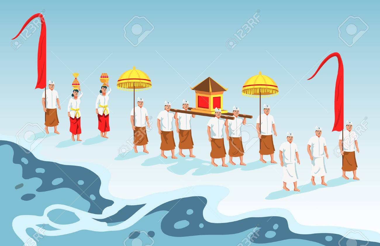 Hindus on Indonesia's island of Bali walk to the beach to perform purification ceremony of Melasti. - 117798974