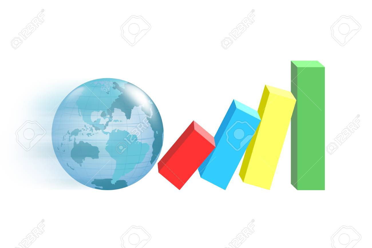 Globe with the growth of the market. Stock Photo - 11802400