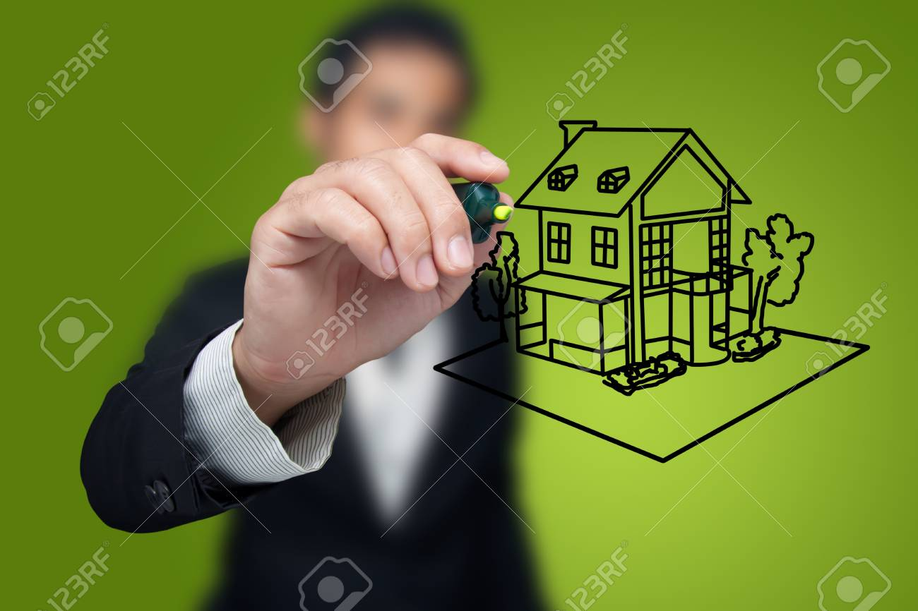 Hand drawing house in a whiteboard. Stock Photo - 12064114