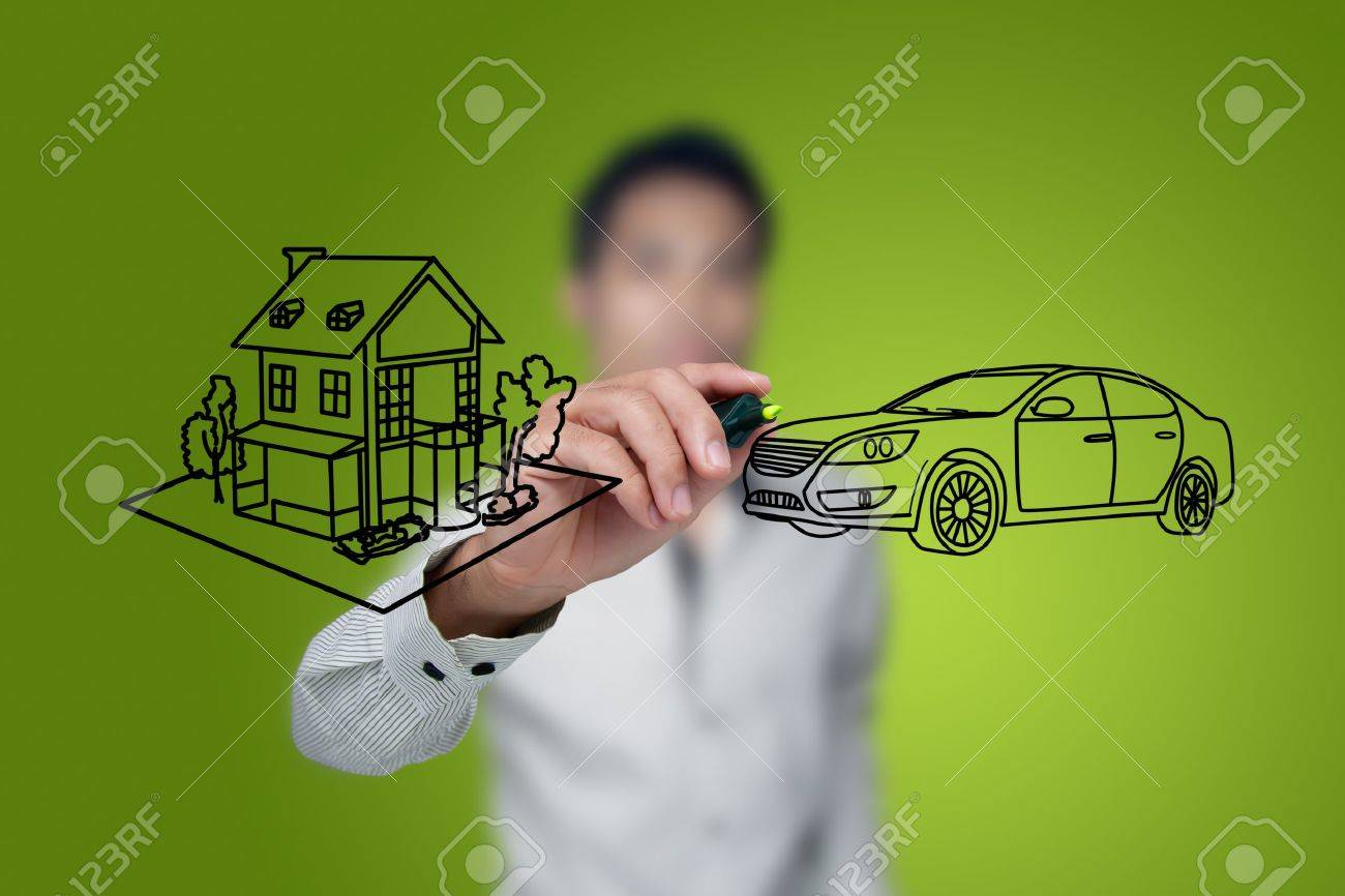 Hand drawing house and car in a whiteboard. Stock Photo - 12064135