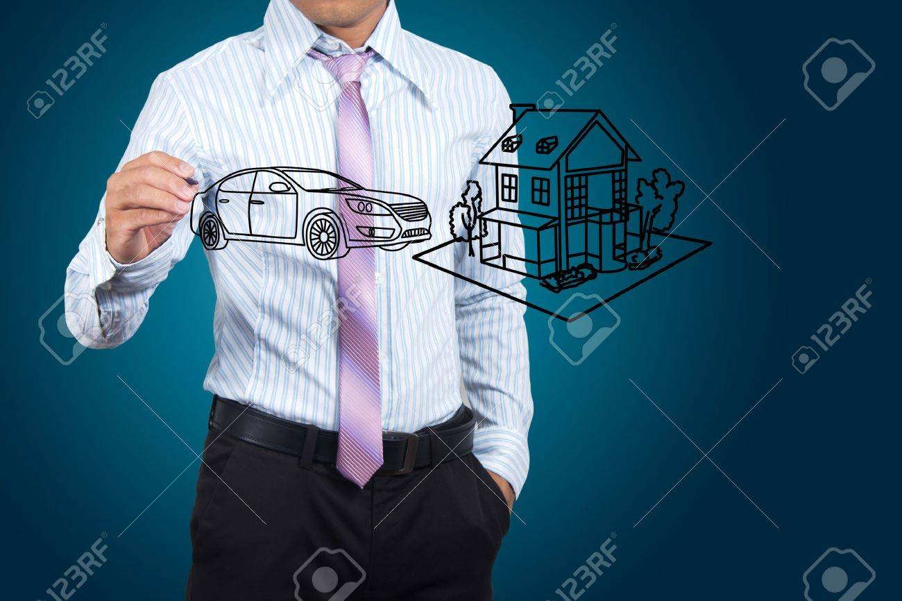 Businessman drawing house and car in a whiteboard. Stock Photo - 15463500