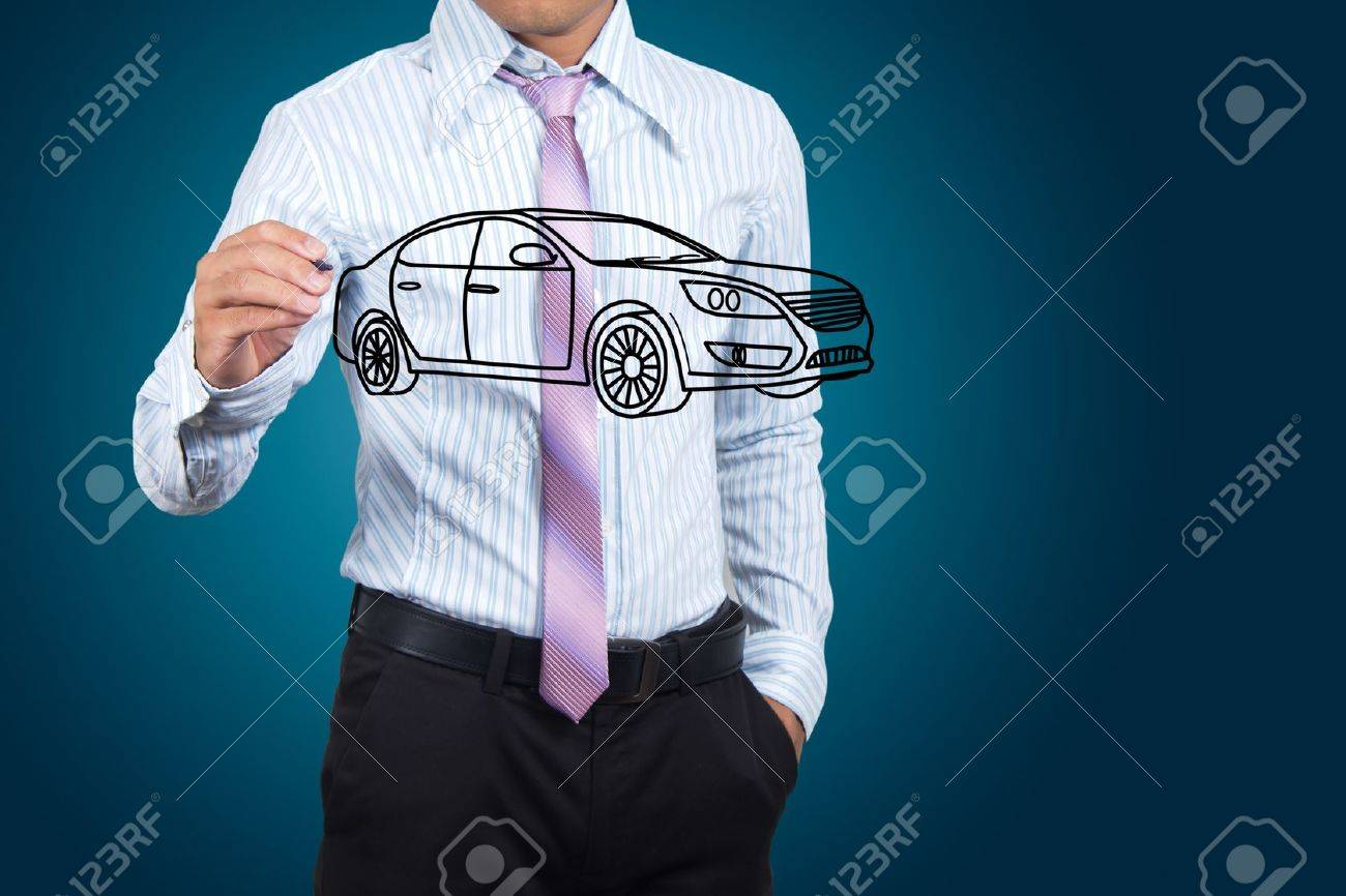 Businessman drawing car in a whiteboard. Stock Photo - 15463497