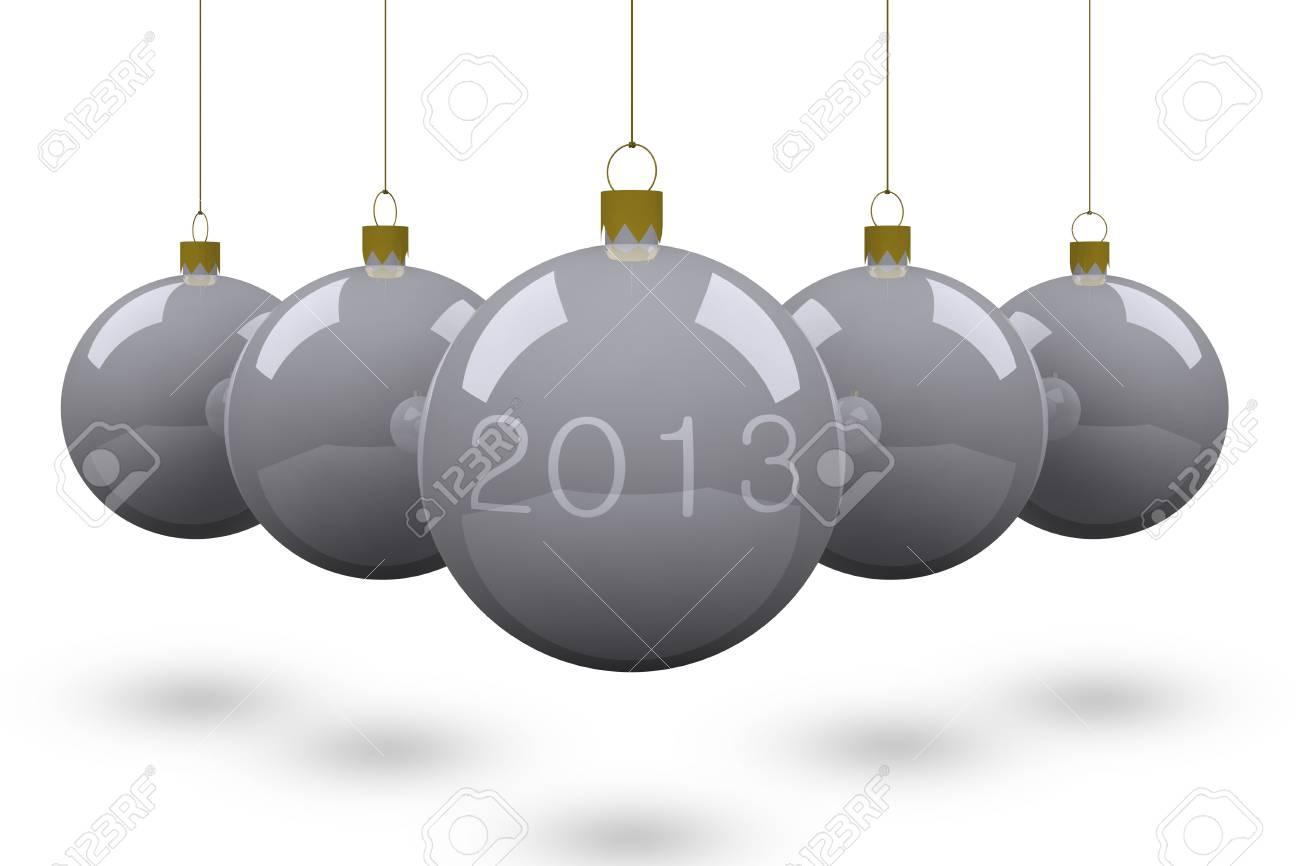 Boule De Noël 2013 Isolé Sur Fond Blanc. Banque D'Images Et Photos